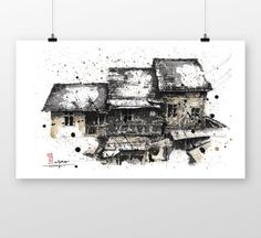 houses in pirin by coffeeAFTEReight on Etsy Ingo, Urban Sketching, Paths, Photo Wall, Sketches, Watercolor, Architecture, Drawings, Houses