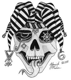 Joker Skull Tattoo Designs | Jester Skull Drawings