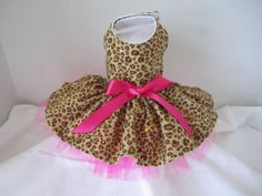 Dog Dress XXS   Cheetah with pink tulle    by NinasCoutureCloset, $30.00