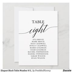 Elegant Black Table Number 8 Seating Chart Fall Wedding Cocktails, Wedding Cocktail Napkins, Seating Chart Wedding, Seating Charts, Elegant Invitations, Custom Invitations, Number Calligraphy, Personalized Napkins, Number 8