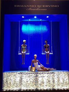 A refreshing swingin' summer Ermanno Scervino Beachwear SS 2015 window at La Rinascente department store in Milan #ScervinoBoutiques #ErmannoScervino