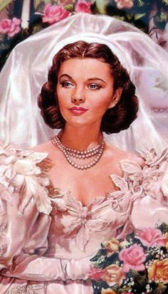 Vivien Leigh as Scarlett O'Hara, Wedding Portrait Gone With The Wind Images Vintage, Scarlett O'hara, Vivien Leigh, Gone With The Wind, Up Girl, Old Hollywood, Hollywood Actresses, Wedding Portraits, Beautiful Bride