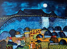 Table Mountain Feb 2020 February 2020 Acrylic on canvas x 45 cm Inspired by our Cape Town Holiday Cape Town Holidays, Fun Travel, Table Mountain, February, Paintings, Watercolor, Inspired, Canvas, Inspiration