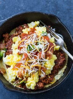 Skillet Huevos Rancheros (using hummus in place of refried beans)