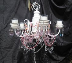 Candle chandelier, romantic lighting, crystals and beads, shabby chandelier via Etsy