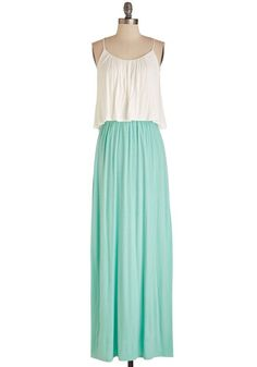 Tree Swing into Action Dress - Long, Mint, White, Casual, Maxi, Spaghetti Straps, Spring, Knit, Jersey, Tiered, Twofer
