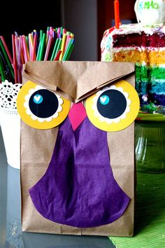 cute treat bag, owl from a paper bag!  dennasideas@wordpress.com