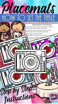 Placemats: How to Set the TableThese placemats are perfect to use to decorate your classroom, to teach manners and learn the steps to setting a table. Use for a fancy feast or have your students color the black/white version to decorate their own placemat Teaching Social Skills, Teaching Manners, Teaching Kids, Elementary School Counselor, School Counseling, Elementary Schools, Education And Development, Primary Activities, Core Curriculum