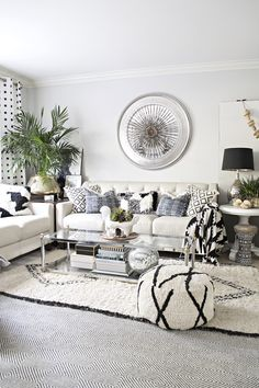 lots of layers, textures and back and white accents in this neutral eclectic living room