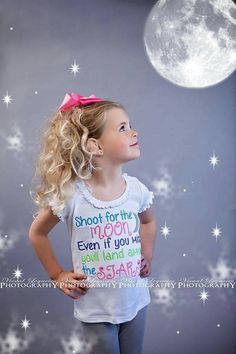 Shoot for the moon even if you miss you'll land among the stars -custom -Inspirational quote - one of a kind -tshirt -bodysuit -children by InspiredFlair on Etsy