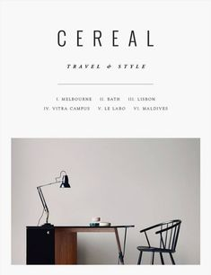 """Cereal New cover Cereal magazine About: """"Cereal is a new quarterly food and travel magazine structured in a literary style, with chapters focusing on a variety of niche topics. Each volume of Cereal. Cereal Magazine, Magazine Art, Magazine Layout Design, Magazine Cover Design, Magazine Covers, Layout Inspiration, Graphic Design Inspiration, Melbourne, Kinfolk Magazine"""
