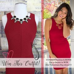 Enter our VALENTINE'S DAY GIVEAWAY! WIN this red dress and black necklace > > COMMENT w/ your size and REPIN to your favorite board! We will choose ONE winner on Monday, February 9th! HAPPY VALENTINES DAY! <3 <3 <3