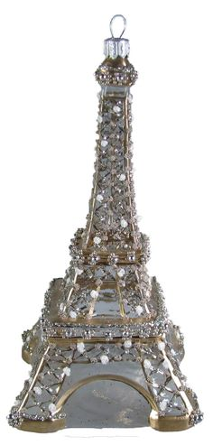 "Perfect for the ""all silver"" tree: Crystal embellished Eiffel Tower ornament."