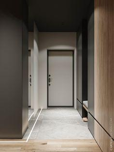 Vander Park on Behance Corridor Design, Foyer Design, Home Room Design, House Design, Apartment Entrance, House Entrance, Modern Condo, Scandinavian Style Home, Appartement Design