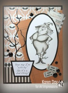 Art Impressions Rubber Stamps:  Halloween Sets Witch Wanda Set (Sku#4311) Handmade card.