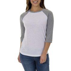 Faded Glory Women's Essential Baseball T-Shirt, Size: Small, Gray