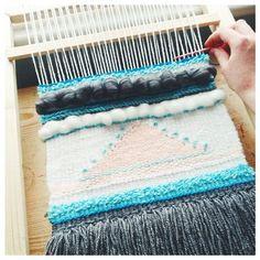 Weaving coming along nicely... #loom, #laploom, #weaving, #tapestryweaving, #wool, #wallhanging, #crafts, #textiles, #yarn, #woolroving.