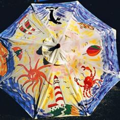 Beach Scene Hand-Painted Outdoor Beach and Patio Umbrella Umbrella Painting, Umbrella Art, Umbrellas Parasols, Singing In The Rain, Yarn Bombing, Beach Scenes, Purple Roses, Art Club, Teaching Art
