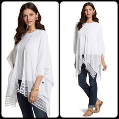 """NWT One size white 100% cotton crochet wrap Length: 30+"""". Light weight. Airy. Crocheted trim.  wuthtwpl Chico's Tops"""