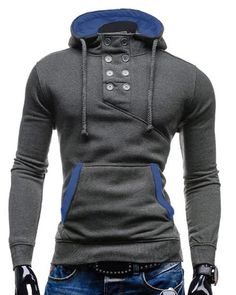 Double Breasted Pocket Hemming Slimming Hooded Long Sleeve Modish Cotton Blend Hoodie For Men Gray