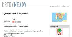 """Audio (+ transcripción) de nivel inicial para practicar español. Verbo """"estar"""" para localizar. Resumen: dos amigas estudian para un examen de geografía."""