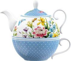 Katie Alice ENGLISH GARDEN TEA FOR ONE - Teapot + Cup Set Porcelain Blue FLOWERS