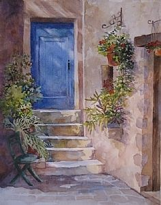 French Door by Connie Layne Watercolor ~ 14