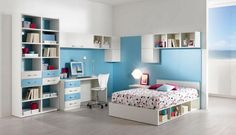 Kids Room: Spacious Teenager Bedroom Ideas For Girl Designed With White Low Profile Bed Plus Cute Bed Cover Furthermore White Book Storages Near White Studying Desk With Swevel Chairs Also Floating Bookcase Design Ideas: Kids Room Decoration Ideas With Various Themed