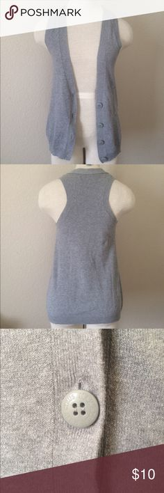Gray Racerback Cardigan Vest 100% cotton. Extremely comfortable and perfect for adding a little of extra warmth on the torso. I bought it because I loved the idea of it, but it never quite fit my shoulders correctly, so I only wore it once or twice maximum. 🎁 Gift Wrapping Available for $5. Please go to my closet for official rules on promotions or sales. Miley Cyrus Max Azria Sweaters Cardigans