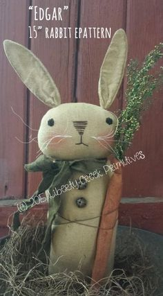 Edgar Primitive Bunny Rabbit Epattern $7.50. pdf sewing pattern.