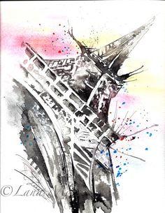 Paris Original Watercolor Illustration  Watercolor by LanasArt