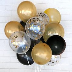 "Gold Confetti Party Balloon 12"" Latex Balloon SET,.40 Pcs 15 Gold, 15 Black, 10 Gold Confetti Ready Balloons.FREE Blow helper.Top Quality for Parties, Anniversaries, Weddings, Decoration, Supply - http://www.partysuppliesanddecorations.com/gold-confetti-party-balloon-12-latex-balloon-set-40-pcs-15-gold-15-black-10-gold-confetti-ready-balloons-free-blow-helper-top-quality-for-parties-anniversaries-weddings-decoration-supply.html"