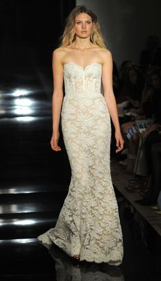 Strapless, lace gown with structured bodice   Reem Acra Spring 2017   https://www.theknot.com/content/reem-acra-wedding-dresses-bridal-fashion-week-spring-2017