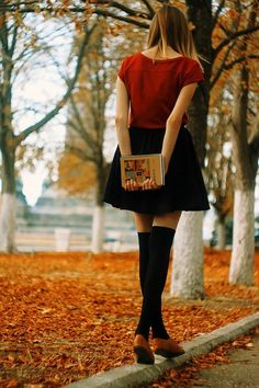 Beautiful autumn and an equally beautiful girl carrying a book. Credit: Stan (http://thebooksandbeauties.tumblr.com/post/97405531755/exclusive-from-russia)
