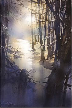 moonlit stream by Thomas W. Schaller Watercolor ~ 22 inches x 14 inches