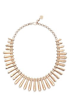 Accessorizing with this rose gold piece from the Nordstrom Anniversary Sale! Sleek metallic nuggets laced in chain taper toward the nape to give this bold yet versatile statement necklace a flattering fit.