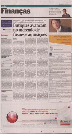 Título: Butiques avançam no mercado de fusões e aquisições  Veículo: Valor Econômico  Data: 9- Março- 2012  Cliente: Cypress