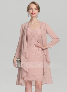 [US$ 99.69] Sheath/Column Sweetheart Knee-Length Chiffon Mother of the Bride Dress With Ruffle Lace (008131935)