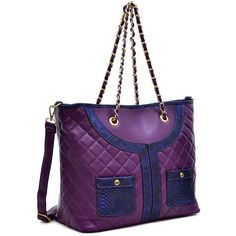 Dasein Purple Snake-Embossed Quilted Tote Bag ($30) ❤ liked on Polyvore featuring bags, handbags, tote bags, dasein purses, pocket tote bag, faux-leather handbags, quilted tote bags and purple tote bags