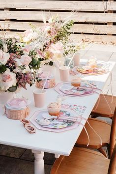 Swoon over this fabulous Spring-themed birthday party! The table settings are so pretty! See more party ideas and share yours at CatchMyParty.com