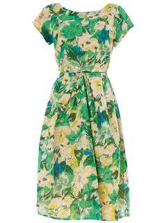dress, green floral