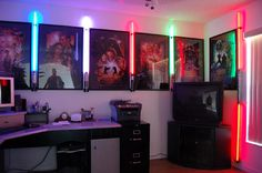 Some light saber display with movie posters...nice!