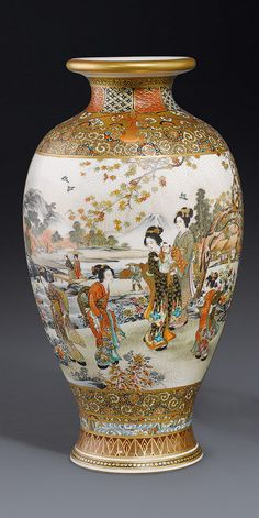 A Satsuma vase by Ryokuzan Meiji period the ovoid body decorated in polychrome enamels and gilding with on one side maidens in a garden setting with distant view of Mt. Fuji, and the reverse with a twin duck-shaped panel enclosing a landscape and florette diaper, all on a flower strewn ground, with a Shimazu mon and signed Ryokuzan 24.5 cm high