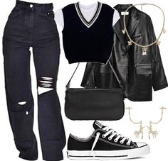 Baddie Outfits Casual, Cute Swag Outfits, Kpop Fashion Outfits, Tomboy Fashion, Mode Outfits, Retro Outfits, Look Fashion, Streetwear Fashion, Stylish Outfits