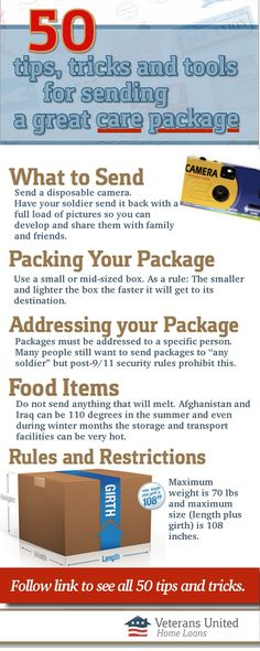 Check out this guide for great tips, tricks and tools for sending a great care package.
