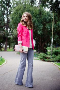 Pink Wish: PINK START pink blazer, flare jeans, fashion, outfit