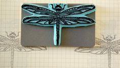 Beautiful dragonfly rubber stamp hand made with by CassaStamps, $15.00