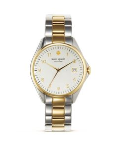 kate spade new york Seaport Grand Two Tone Watch, Jewelry & Accessories - Watches - All Watches - Bloomingdale's Kate Spade Watch, Link Bracelets, Pebbled Leather, Gold Watch, Watch Bands, Bracelet Watch, Jewelry Accessories, At Least, Nordstrom