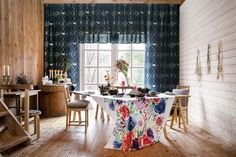 Sato curtain, Elea fabric, Kerttu and Ajaton tableware, Olivia and Lotta cushions Dining Room Blue, Finland, To Go, Cushions, Curtains, Tableware, Fabric, Home Decor, Throw Pillows