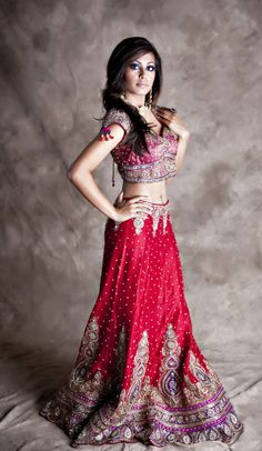 Indian bridal lenga weddig  http://www.redpaisleys.com/collections/bridal/products/deep-red-purple-silk-lehenga